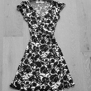Printed A-line wrap dress